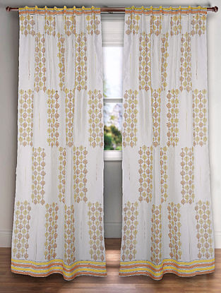 Off White Handblock Printed Chanderi Curtain (7ft)