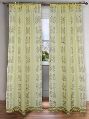 Lemon Yellow Handblock Printed Chanderi Curtain (7ft)