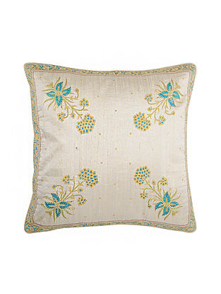 Ivory Hand Block Printed and Hand Embroidered Dupion Silk Cushion Cover (16in x 16in)