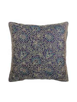 Purple Hand Block Printed and Hand Embroidered Dupion Silk Cushion Cover (17in x 16in)