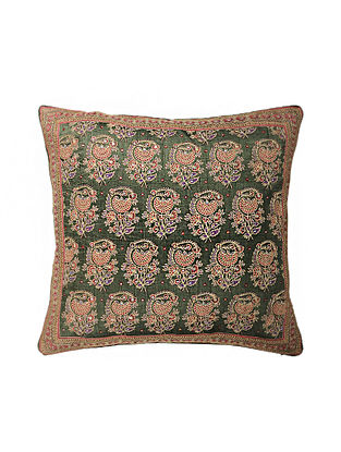 Green Hand Block Printed and Hand Embroidered Dupion Silk Cushion Cover (17in x 16in)