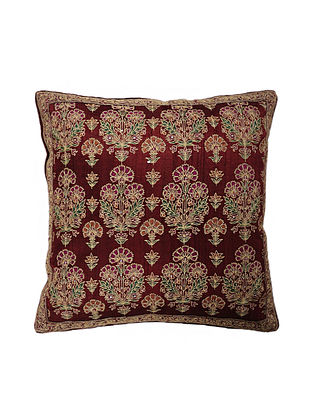 Maroon Hand Block Printed and Hand Embroidered Dupion Silk Cushion Cover (16in x 16in)
