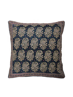Blue Hand Block Printed and Hand Embroidered Dupion Silk Cushion Cover (16in x 16in)