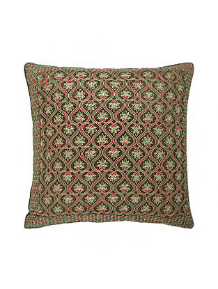 Green Hand Block Printed and Hand Embroidered Dupion Silk Cushion Cover (16in x 16in)