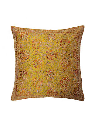 Mustard Hand Block Printed and Hand Embroidered Dupion Silk Cushion Cover (17in x 16in)