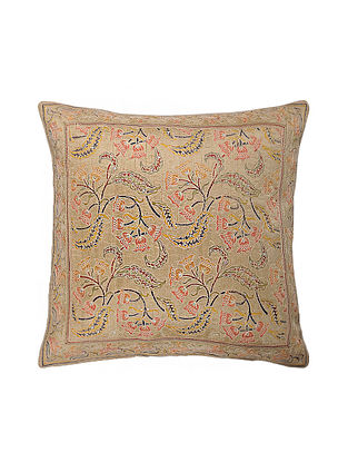 Beige Hand Block Printed and Hand Embroidered Dupion Silk Cushion Cover (16in x 16in)