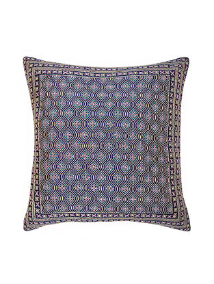 Aubergine Hand Block Printed and Hand Embroidered Dupion Silk Cushion Cover (17in x 16in)