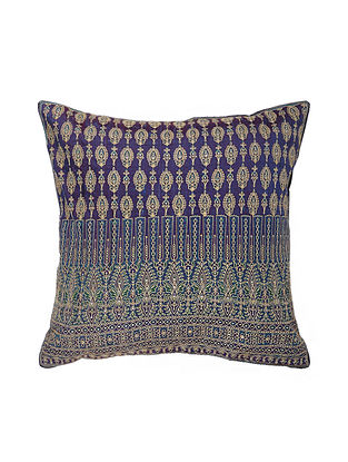 Violet Hand Block Printed and Hand Embroidered Dupion Silk Cushion Cover (16in x 16in)