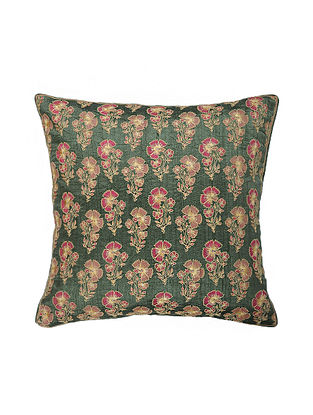 Green Hand Block Printed and Hand Embroidered Dupion Silk Cushion Cover (16.5in x 16.5in)