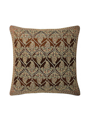 Brown Hand Block Printed and Hand Embroidered Dupion Silk Cushion Cover (17in x 16.5in)