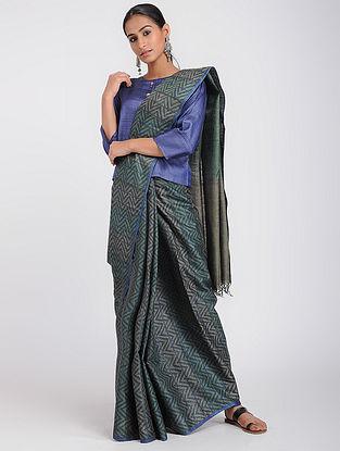 Green-Blue Block-printed Tussar Silk Saree