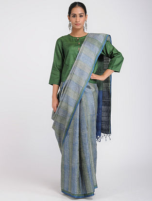 Blue-Green Block-printed Tussar Silk Saree