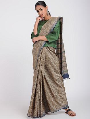 Beige-Blue Block-printed Tussar Silk Saree