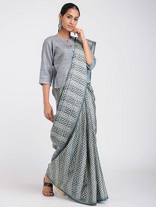 Grey-Ivory Block-printed Tussar Silk Saree