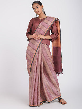 Pink-Orange Block-printed Tussar Silk Saree