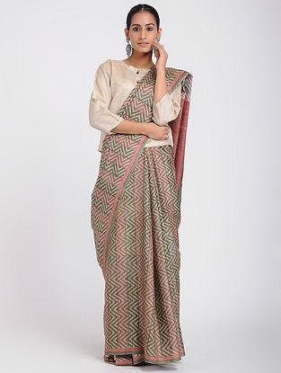 Green-Red Block-printed Tussar Silk Saree