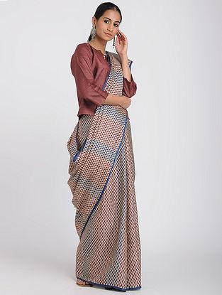 Beige-Maroon Block-printed Tussar Silk Saree
