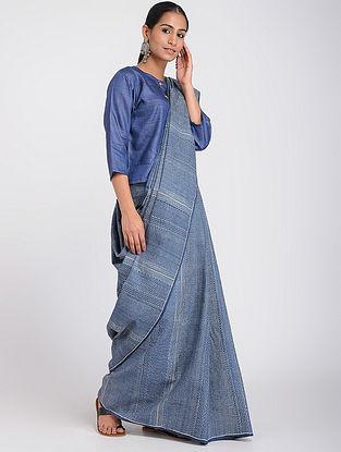 Blue Block-printed Tussar Silk Saree