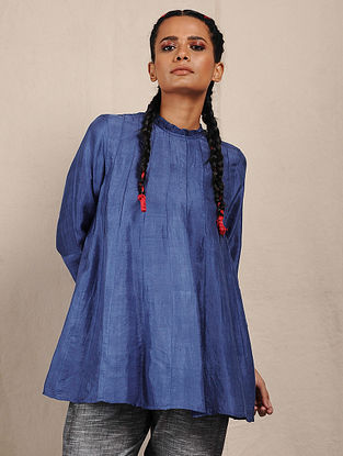 Blue Handwoven Mulberry Khadi Silk Tunic