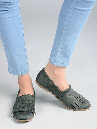 Olive Green Handcrafted Loafers