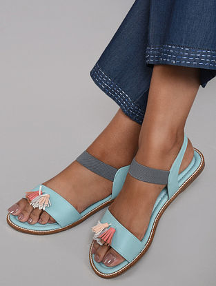 Blue Multicolored Handcrafted Sandals