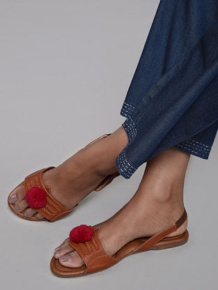 Tan Red Handcrafted Kolhapuri Sandals with Pom Pom