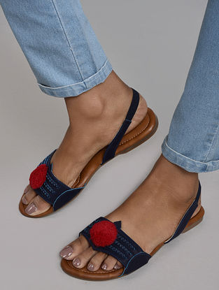 Blue Red Handcrafted Kolhapuri Sandals with Pom Pom
