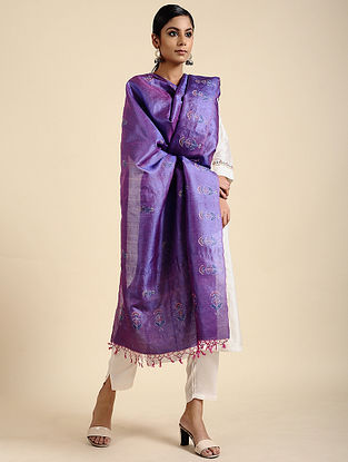 Blue Block Printed Tussar Silk Dupatta