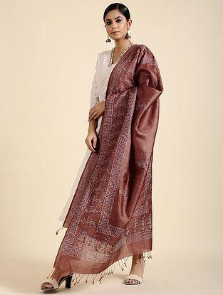 Brown Block Printed Tussar Silk Dupatta