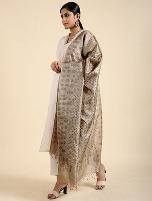 Beige Block Printed Tussar Silk Dupatta