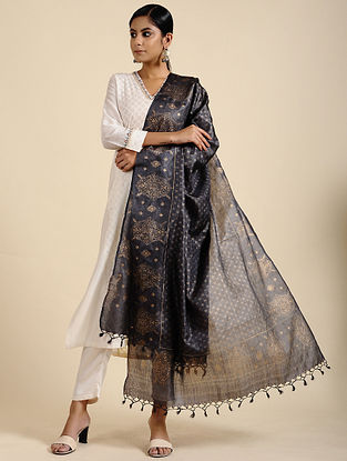 Black Block Printed Tussar Silk Dupatta