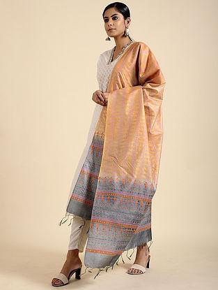 Yellow-Blue Block Printed Tussar Silk Dupatta