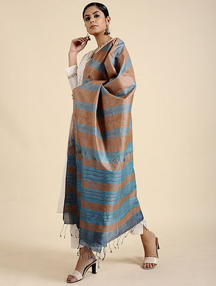 Blue-Brown Block Printed Tussar Silk Dupatta