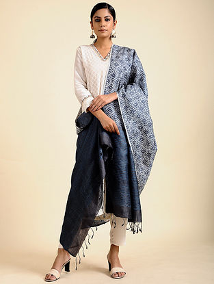 Blue-Black Block Printed Tussar Silk Dupatta