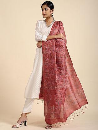 Red Block Printed Tussar Silk Dupatta