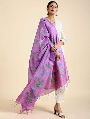 Pink-Mauve Block Printed Tussar Silk Dupatta