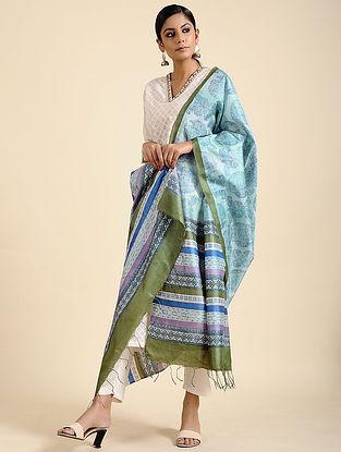 Blue-Green Block Printed Tussar Silk Dupatta