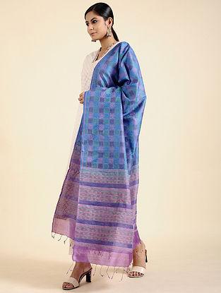 Blue-Purple Block Printed Tussar Silk Dupatta