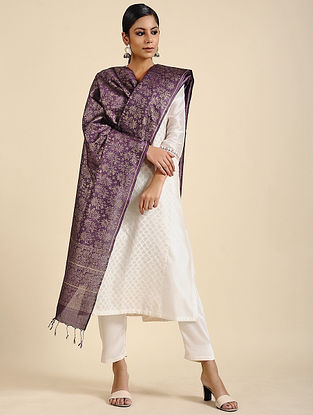 Purple Block Printed Tussar Silk Dupatta