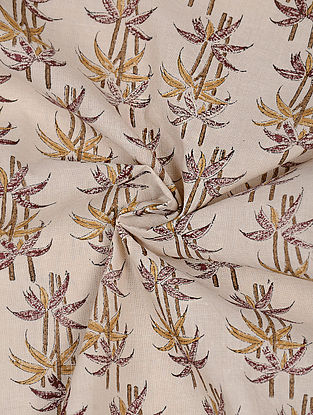 Beige-Maroon Block-printed Cotton Fabric