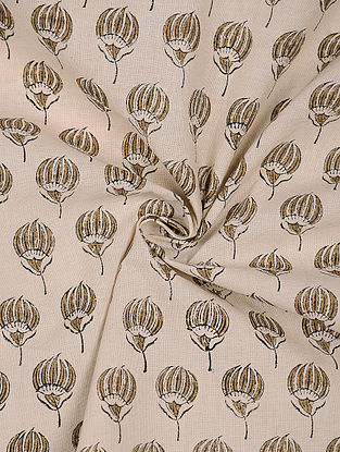 Beige-Olive Block-printed Cotton Fabric
