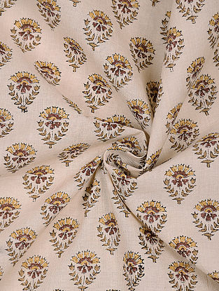 Beige-Yellow Block-printed Cotton Fabric