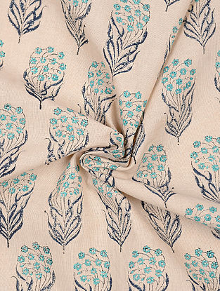 Beige-Turquoise Block-printed Cotton Fabric