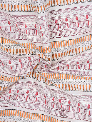 Ivory-Orange Block-printed Cotton Fabric