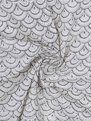 Ivory-Grey Block-printed Cotton Fabric