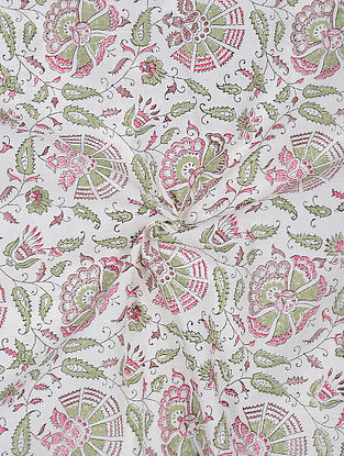 Ivory-Green Block-printed Cotton Fabric