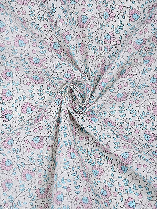 Ivory-Pink Block-printed Cotton Fabric