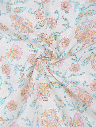 Ivory-Turquoise Block-printed Cotton Fabric