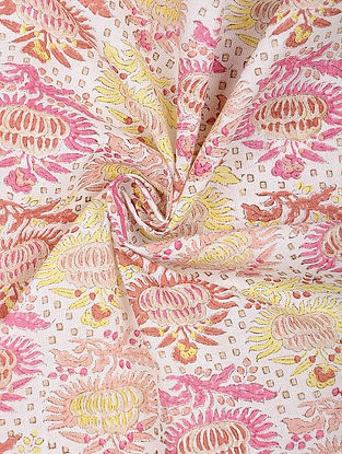 Ivory-Pink Cotton Block Printed Fabric