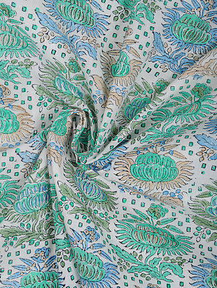 Ivory Cotton Block Printed Fabric